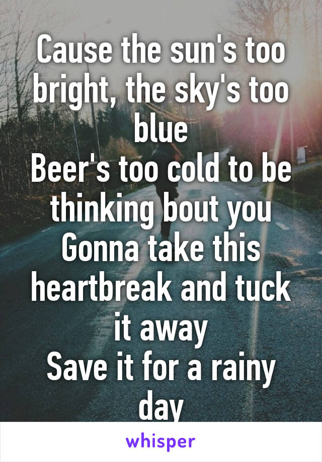 Cause the sun's too bright, the sky's too blue Beer's too cold to be thinking bout you Gonna take this heartbreak and tuck it away Save it for a rainy day