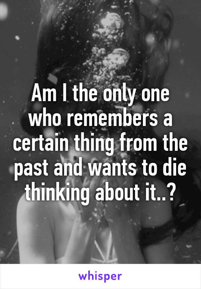 Am I the only one who remembers a certain thing from the past and wants to die thinking about it..?