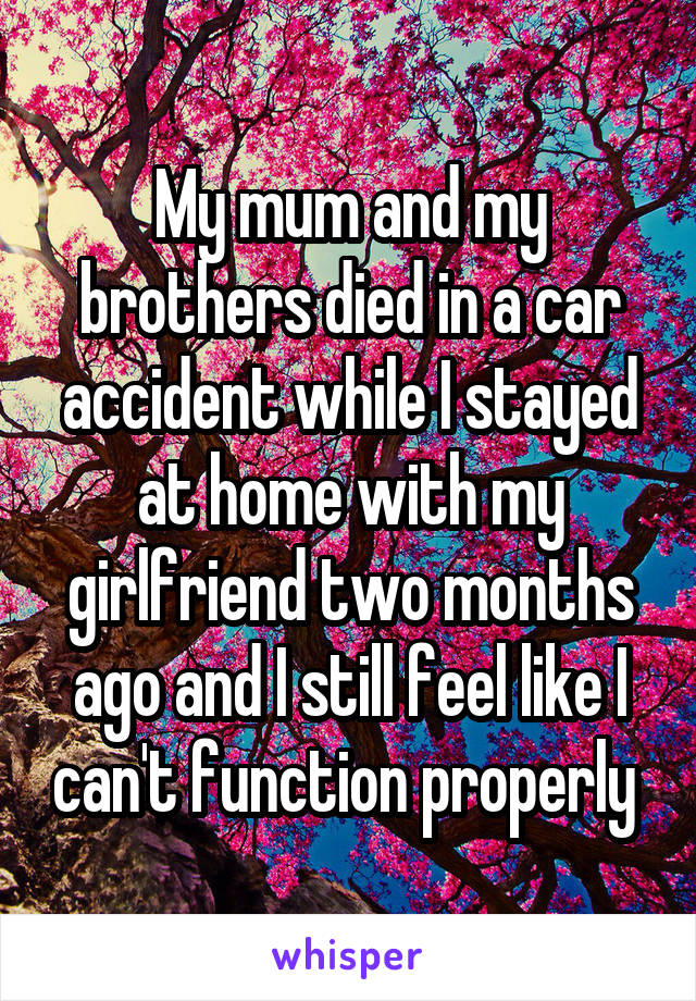 My mum and my brothers died in a car accident while I stayed at home with my girlfriend two months ago and I still feel like I can't function properly