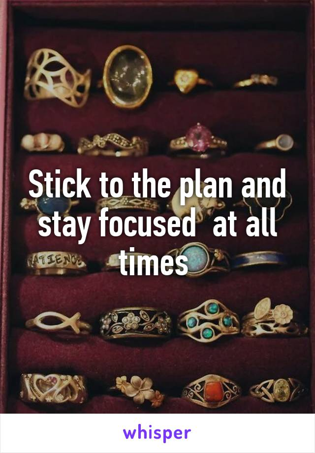 Stick to the plan and stay focused  at all times