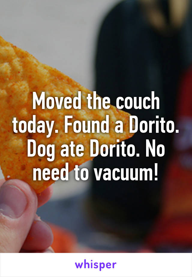 Moved the couch today. Found a Dorito. Dog ate Dorito. No need to vacuum!