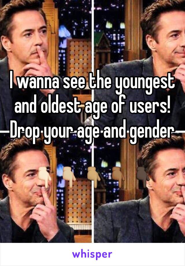 I wanna see the youngest and oldest age of users! Drop your age and gender  👇🏻👇🏼👇🏽👇🏾👇🏿