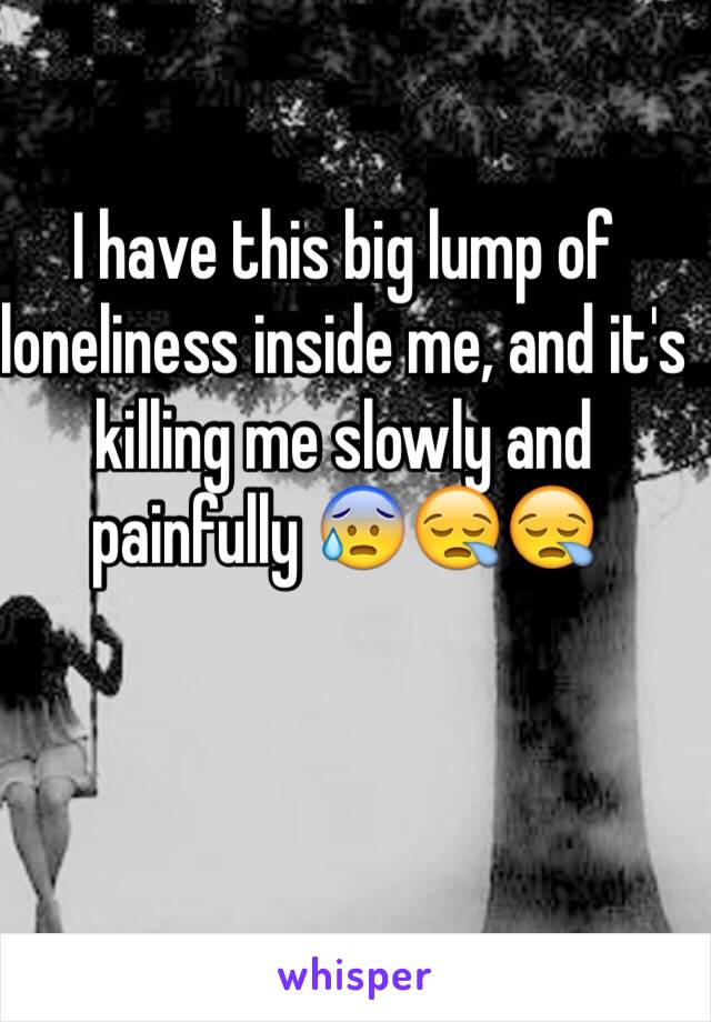I have this big lump of loneliness inside me, and it's killing me slowly and painfully 😰😪😪