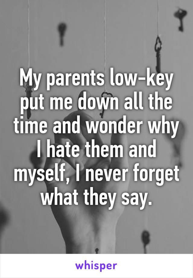 My parents low-key put me down all the time and wonder why I hate them and myself, I never forget what they say.