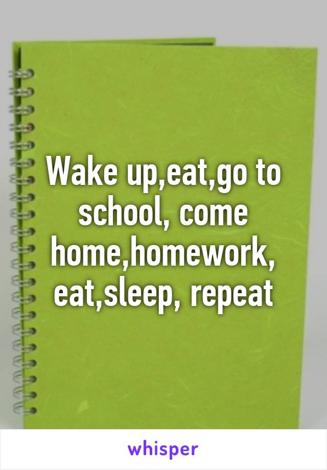 Wake up,eat,go to school, come home,homework, eat,sleep, repeat