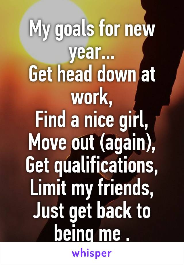 My goals for new year... Get head down at work, Find a nice girl, Move out (again), Get qualifications, Limit my friends, Just get back to being me .