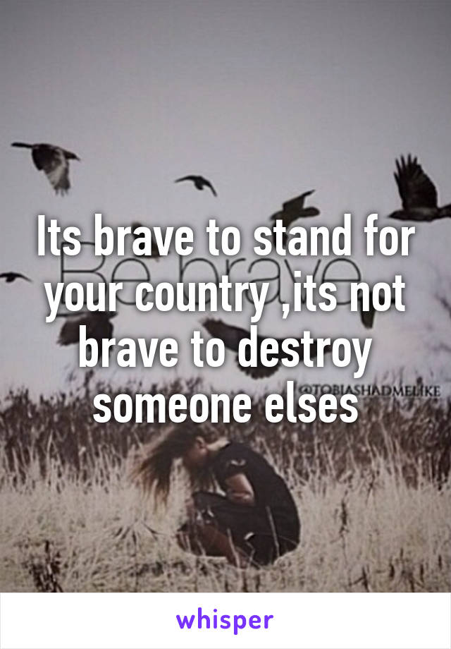 Its brave to stand for your country ,its not brave to destroy someone elses