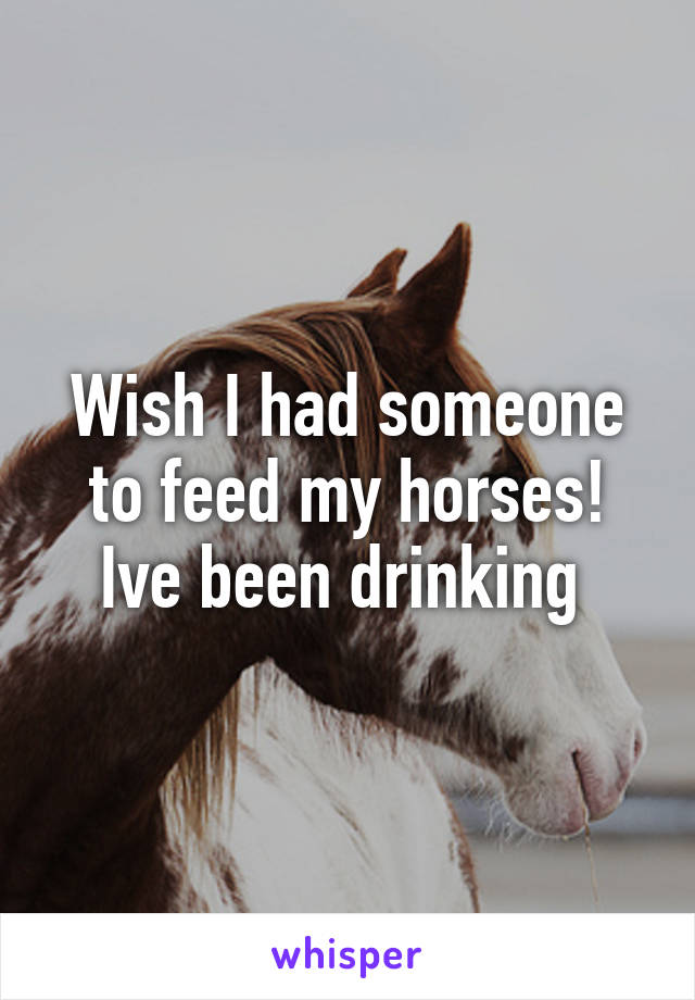 Wish I had someone to feed my horses! Ive been drinking