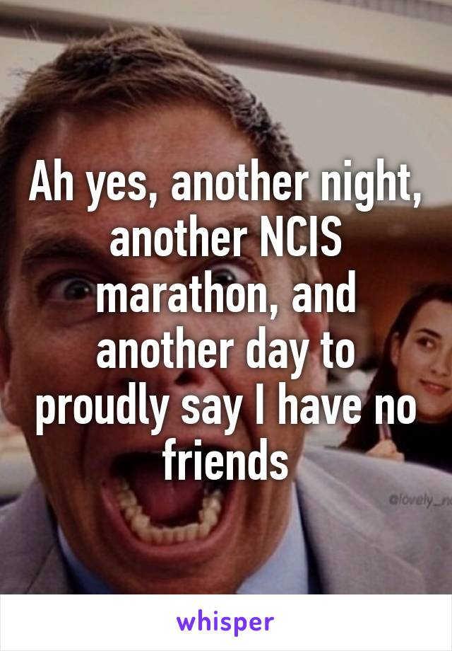 Ah yes, another night, another NCIS marathon, and another day to proudly say I have no friends