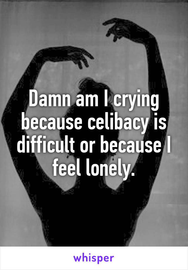 Damn am I crying because celibacy is difficult or because I feel lonely.