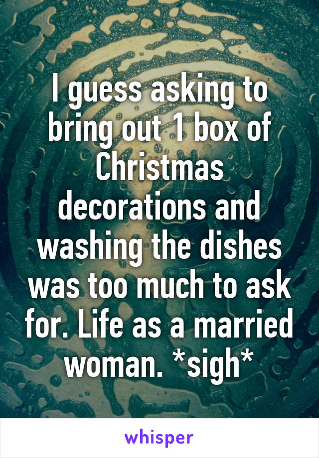 I guess asking to bring out 1 box of Christmas decorations and washing the dishes was too much to ask for. Life as a married woman. *sigh*