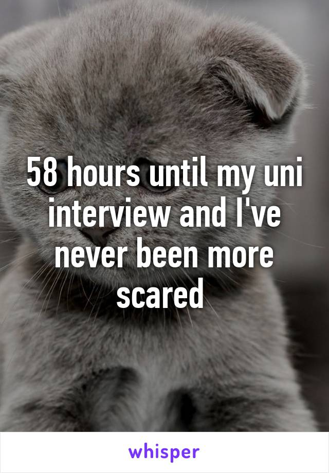 58 hours until my uni interview and I've never been more scared