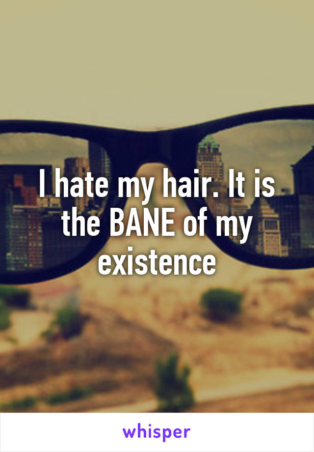 I hate my hair. It is the BANE of my existence