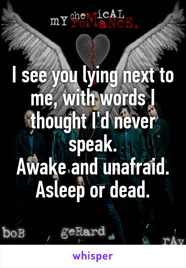 I see you lying next to me, with words I thought I'd never speak. Awake and unafraid. Asleep or dead.