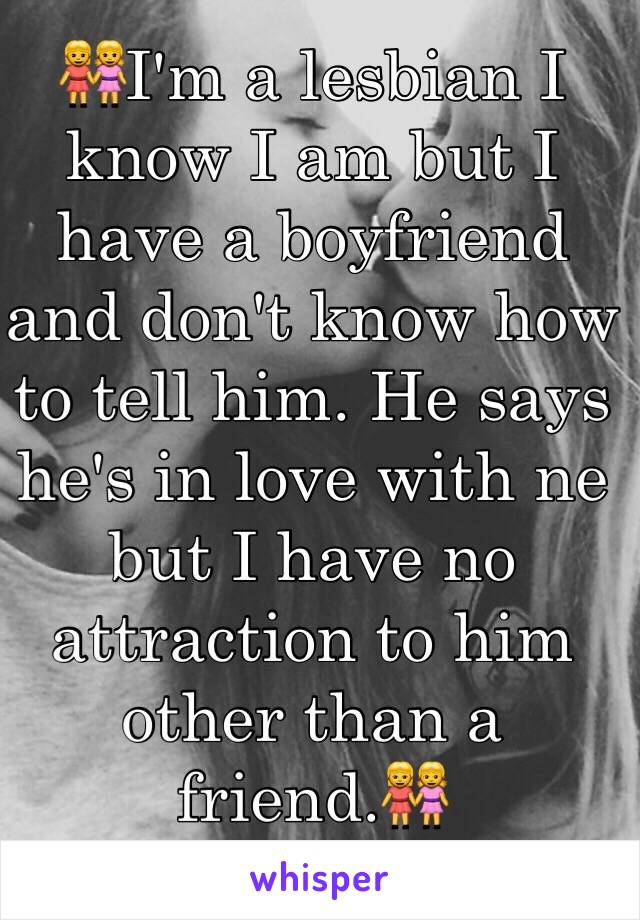 👭I'm a lesbian I know I am but I have a boyfriend and don't know how to tell him. He says he's in love with ne but I have no attraction to him other than a friend.👭