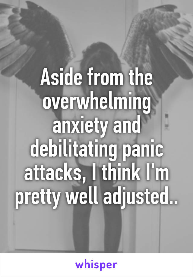 Aside from the overwhelming anxiety and debilitating panic attacks, I think I'm pretty well adjusted..