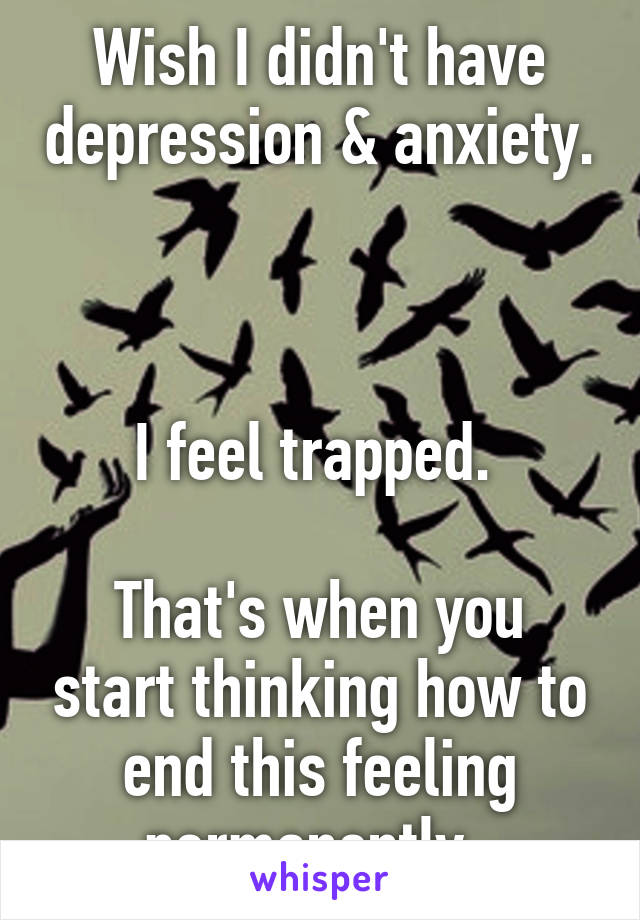 Wish I didn't have depression & anxiety.    I feel trapped.   That's when you start thinking how to end this feeling permanently