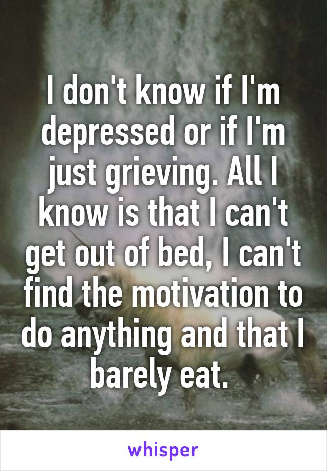 I don't know if I'm depressed or if I'm just grieving. All I know is that I can't get out of bed, I can't find the motivation to do anything and that I barely eat.