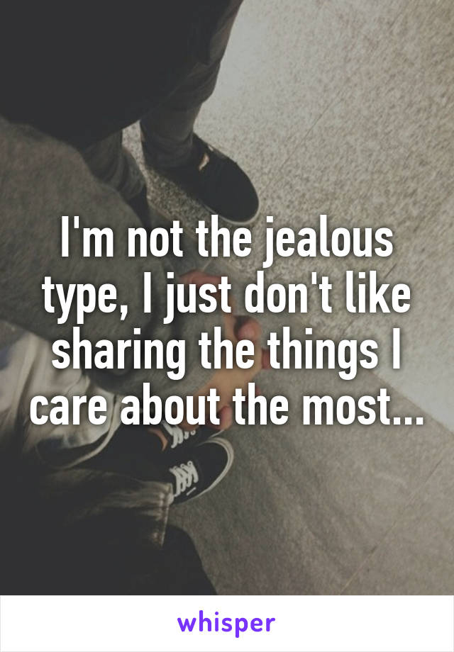 I'm not the jealous type, I just don't like sharing the things I care about the most...