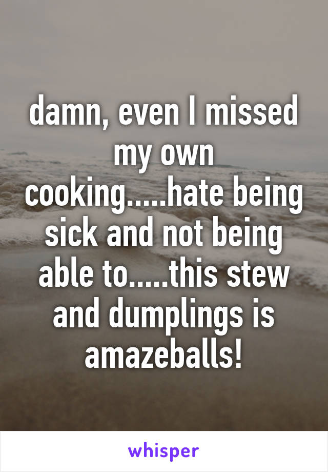 damn, even I missed my own cooking.....hate being sick and not being able to.....this stew and dumplings is amazeballs!