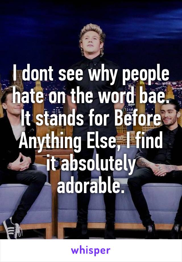 I dont see why people hate on the word bae. It stands for Before Anything Else, I find it absolutely adorable.