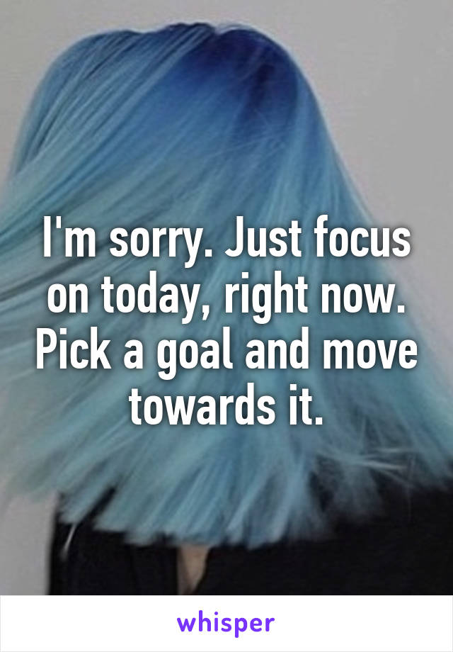 I'm sorry. Just focus on today, right now. Pick a goal and move towards it.