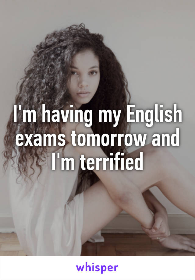 I'm having my English exams tomorrow and I'm terrified