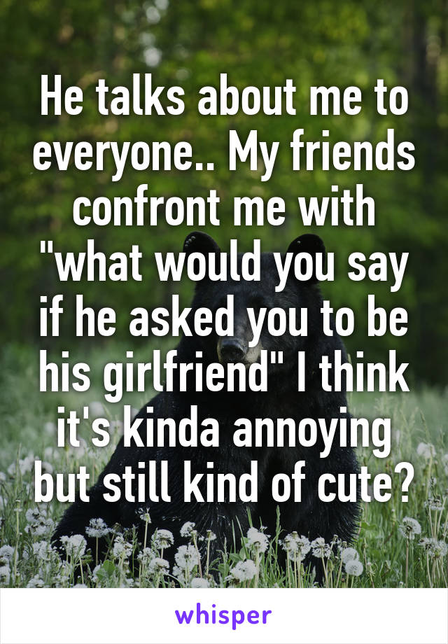 """He talks about me to everyone.. My friends confront me with """"what would you say if he asked you to be his girlfriend"""" I think it's kinda annoying but still kind of cute?"""