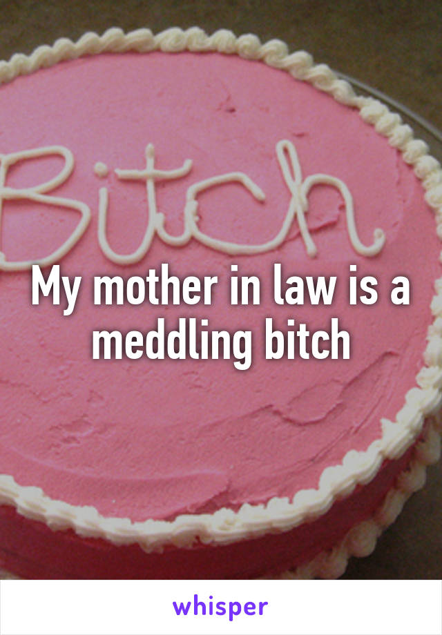 My mother in law is a meddling bitch