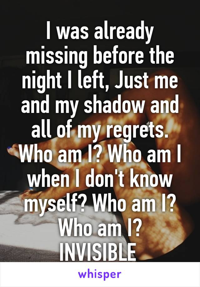 I was already missing before the night I left, Just me and my shadow and all of my regrets. Who am I? Who am I when I don't know myself? Who am I? Who am I? INVISIBLE