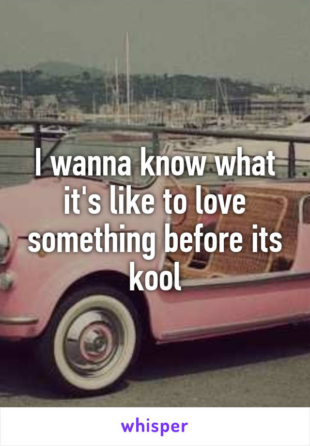 I wanna know what it's like to love something before its kool