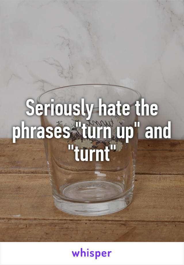 "Seriously hate the phrases ""turn up"" and ""turnt"""