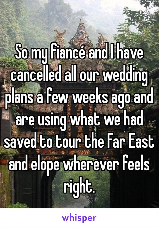 So my fiancé and I have cancelled all our wedding plans a few weeks ago and are using what we had saved to tour the Far East and elope wherever feels right.