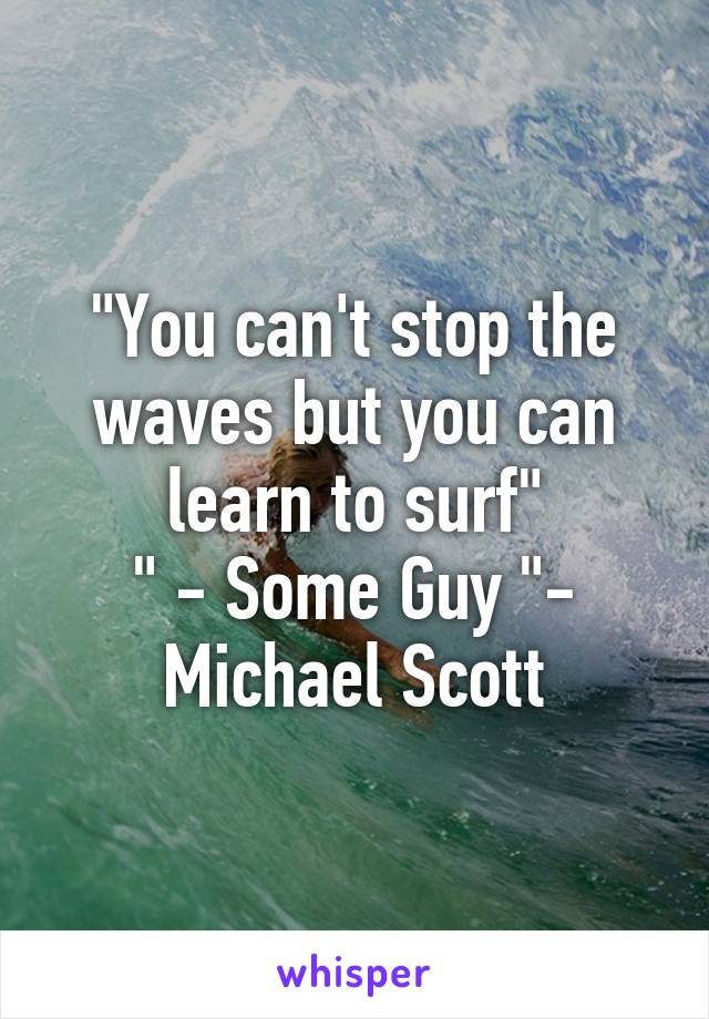 """""""You can't stop the waves but you can learn to surf"""" """" - Some Guy """"- Michael Scott"""