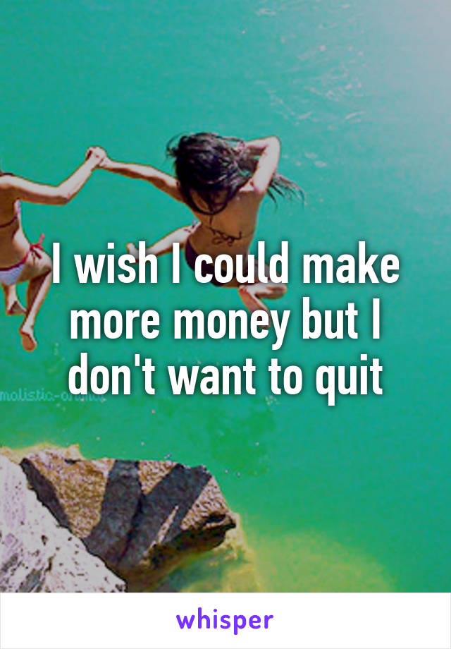 I wish I could make more money but I don't want to quit