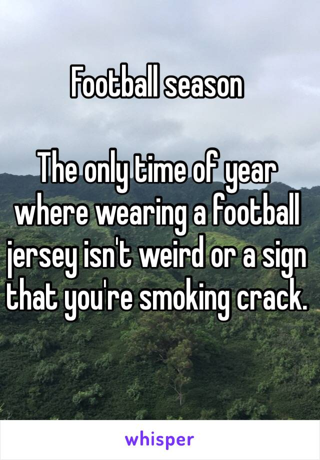 Football season  The only time of year where wearing a football jersey isn't weird or a sign that you're smoking crack.