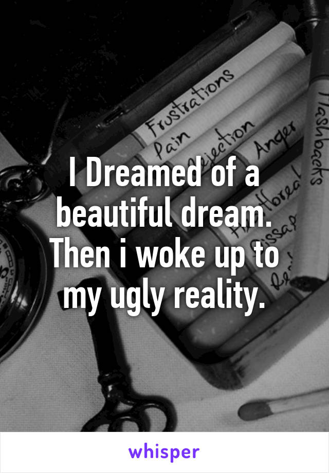 I Dreamed of a beautiful dream. Then i woke up to my ugly reality.