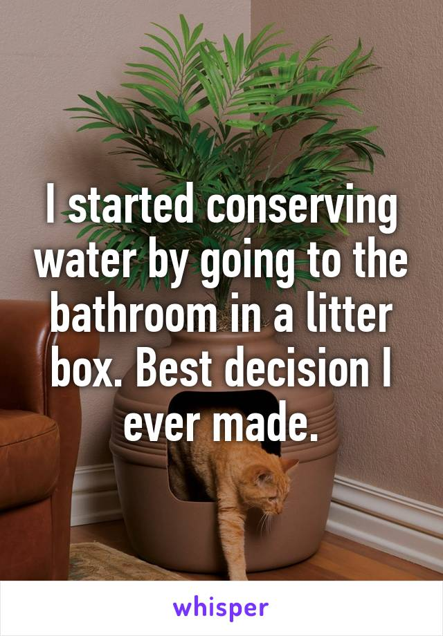I started conserving water by going to the bathroom in a litter box. Best decision I ever made.
