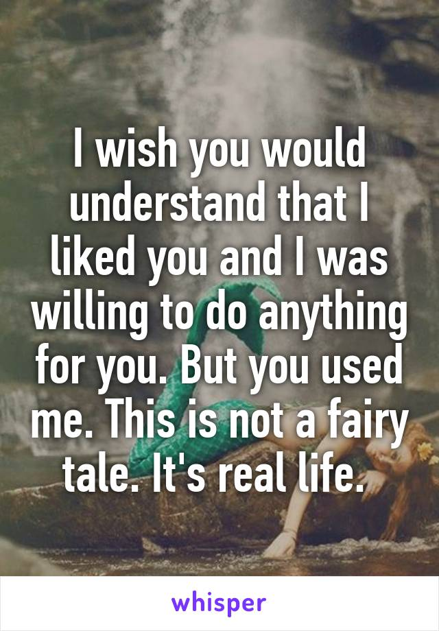 I wish you would understand that I liked you and I was willing to do anything for you. But you used me. This is not a fairy tale. It's real life.