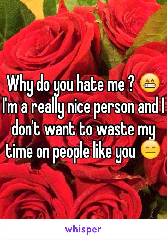 Why do you hate me ? 😁 I'm a really nice person and I don't want to waste my time on people like you 😑