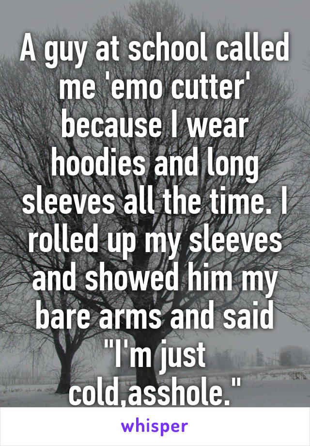 """A guy at school called me 'emo cutter' because I wear hoodies and long sleeves all the time. I rolled up my sleeves and showed him my bare arms and said """"I'm just cold,asshole."""""""