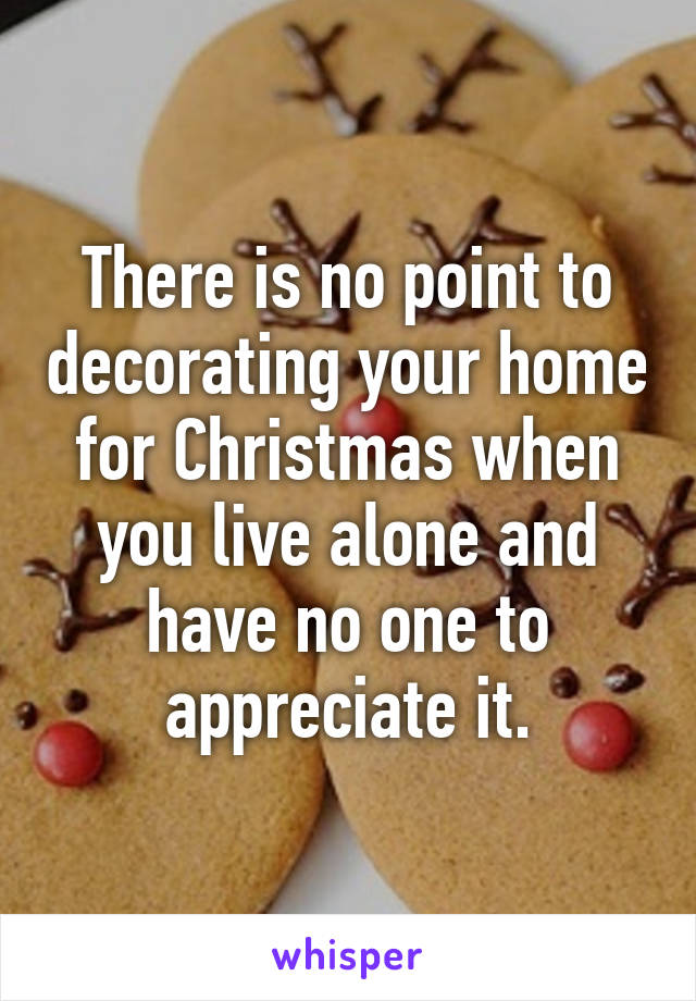 There is no point to decorating your home for Christmas when you live alone and have no one to appreciate it.