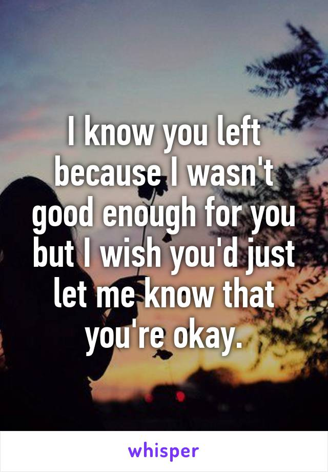 I know you left because I wasn't good enough for you but I wish you'd just let me know that you're okay.