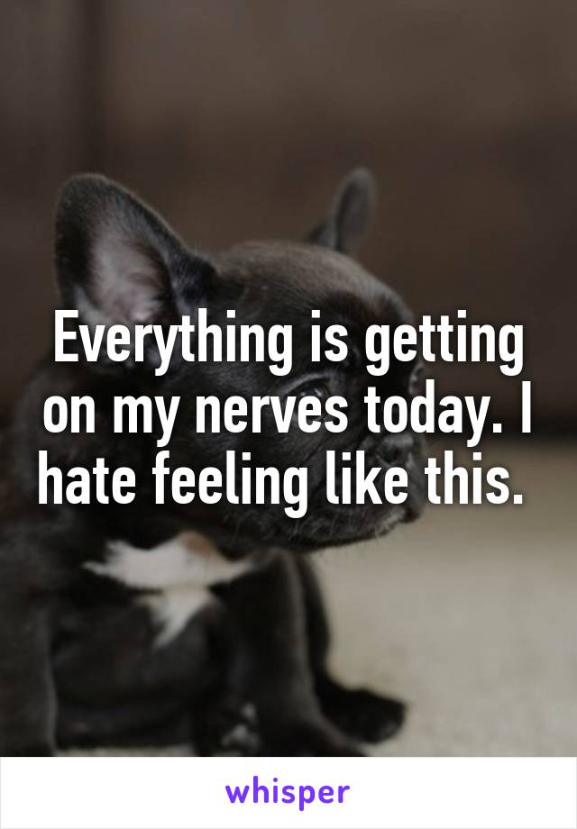 Everything is getting on my nerves today. I hate feeling like this.