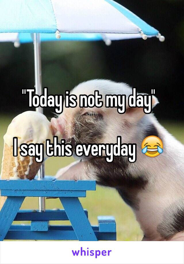 """""""Today is not my day""""   I say this everyday 😂"""