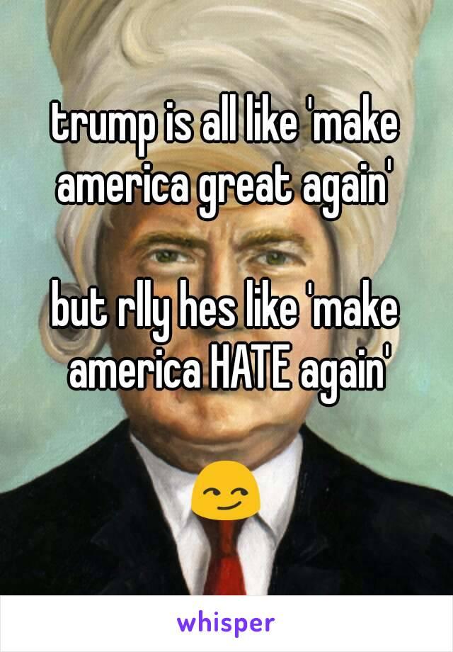 trump is all like 'make america great again'   but rlly hes like 'make america HATE again'  😏