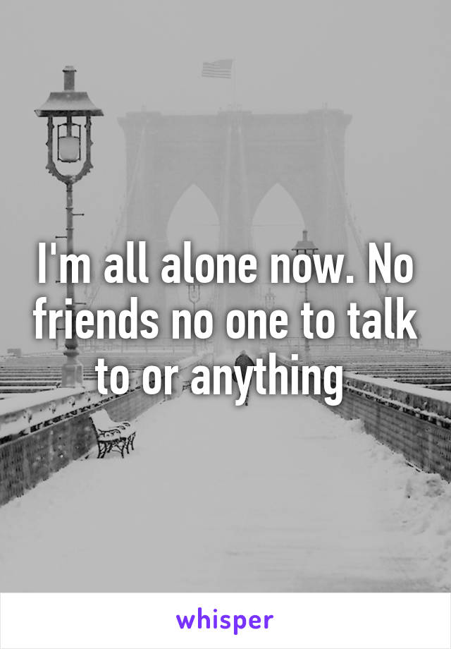 I'm all alone now. No friends no one to talk to or anything