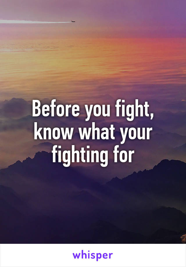 Before you fight, know what your fighting for
