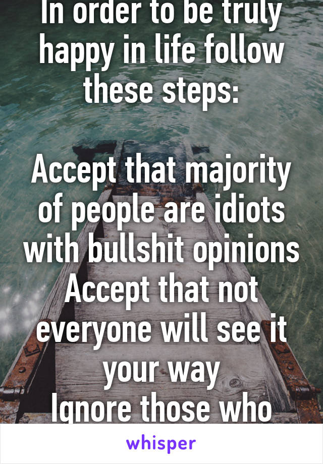 In order to be truly happy in life follow these steps:  Accept that majority of people are idiots with bullshit opinions Accept that not everyone will see it your way Ignore those who dont support u