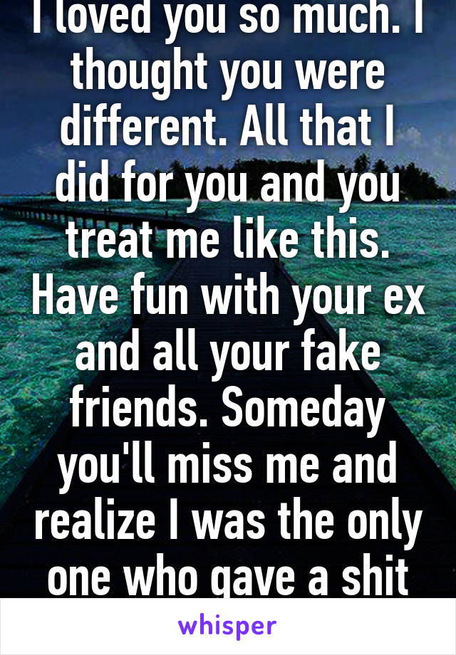 I loved you so much. I thought you were different. All that I did for you and you treat me like this. Have fun with your ex and all your fake friends. Someday you'll miss me and realize I was the only one who gave a shit about you.